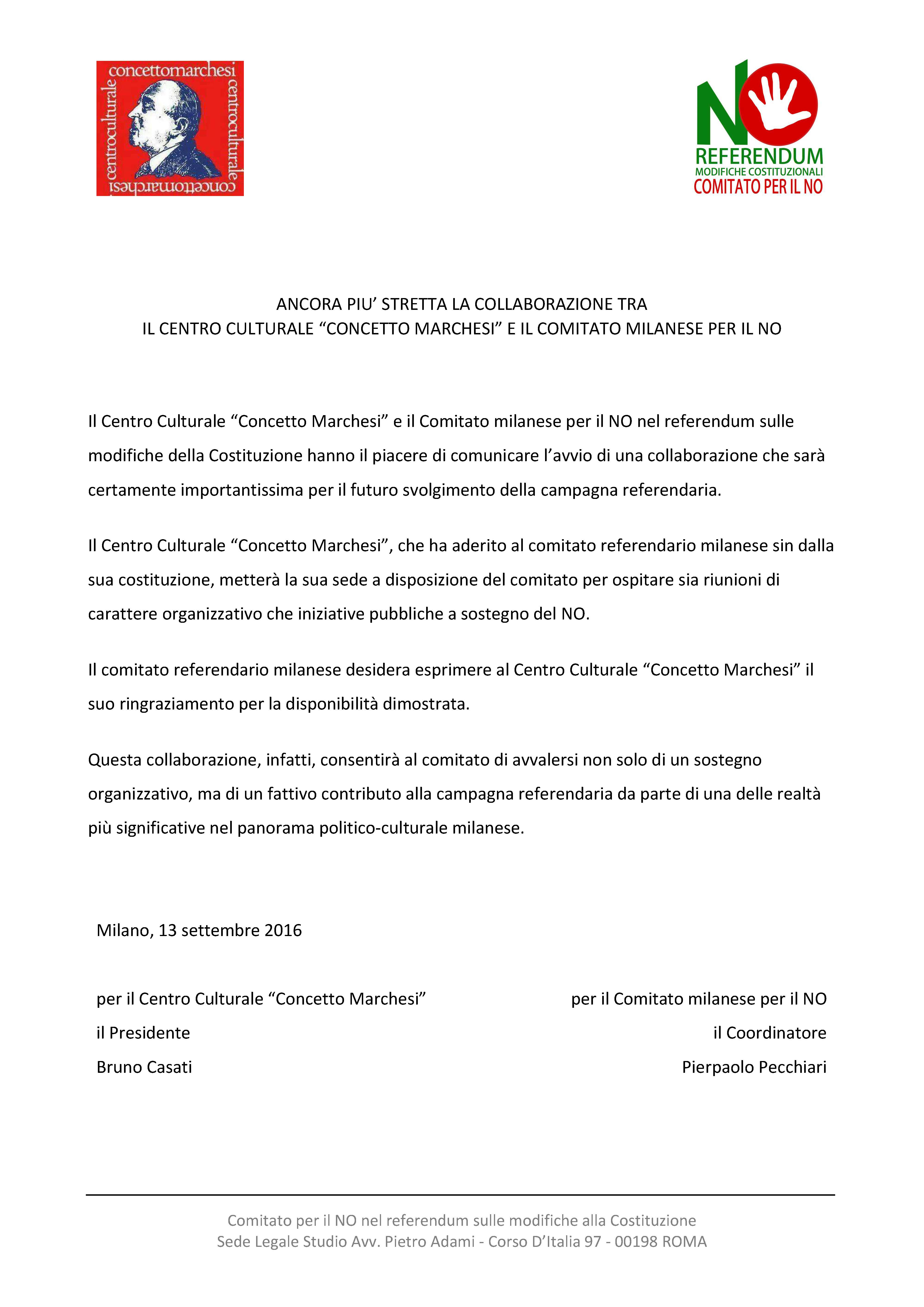 Comunicato congiunto CCCM-No